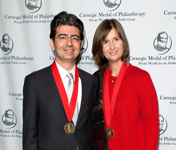 Pierre Omidyar and Pamela Omidyar attend the Carnegie Medal of Philanthropy 10th Anniversary Award ceremony.
