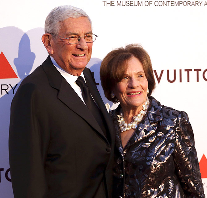 Businessman and philanthropist Eli Broad (L) and his wife Edythe Broad attend the Museum of Contemporary Art (MOCA)'s 35th Anniversary Gala.