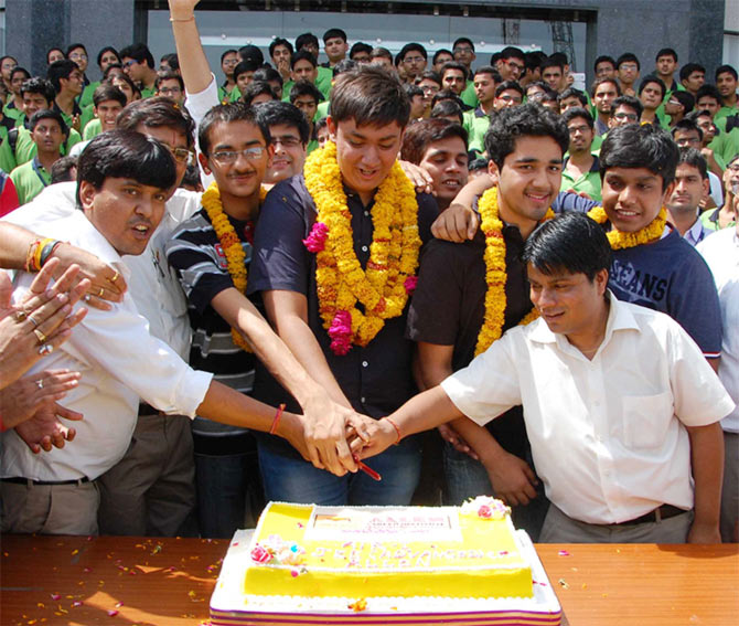 Chitraang celebrates his success.
