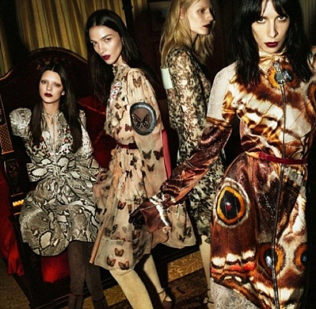Kendall Jenner (far left) in the new Givenchy fall/winter campaign.