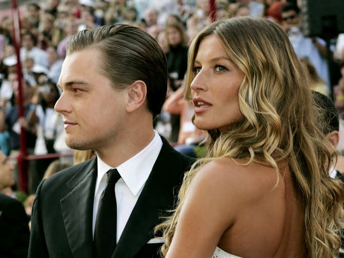Leonardo DiCaprio with Gisele at the Academy Awards in 2005.