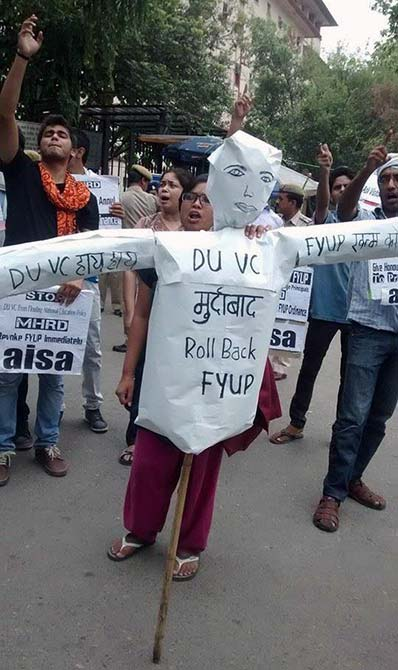 Students from Delhi University demand the rollback of the four year undergraduate programme.