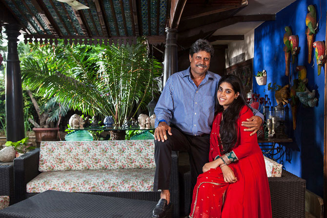 Kapil Dev with his daughter Amiya in Meri Beti Meri Shakti