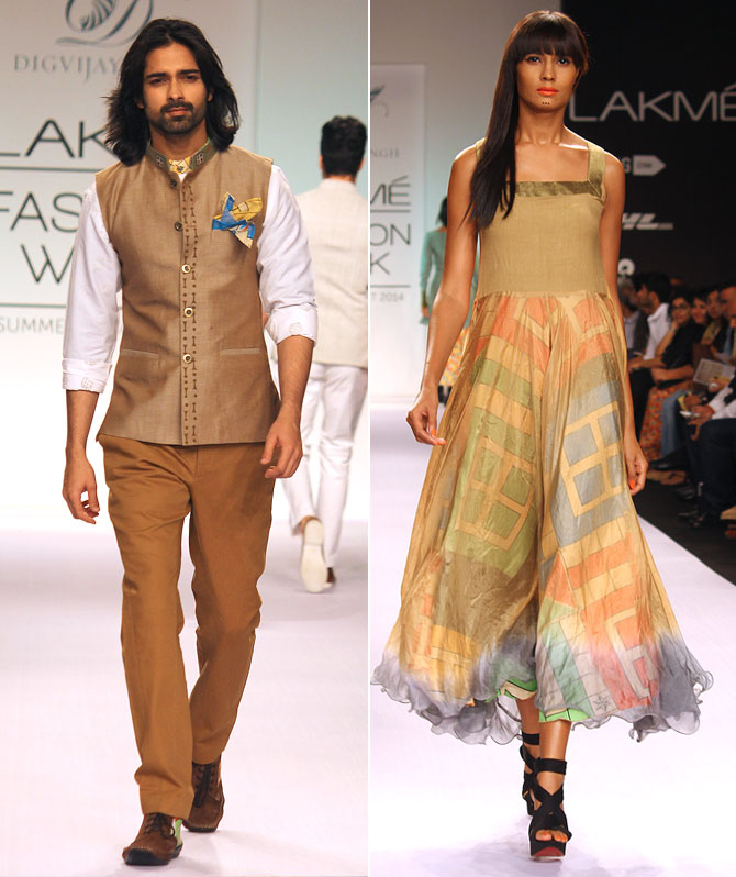 Models Amit Ranjan and Rikee Chatterjee in Digvijay Singh creations.