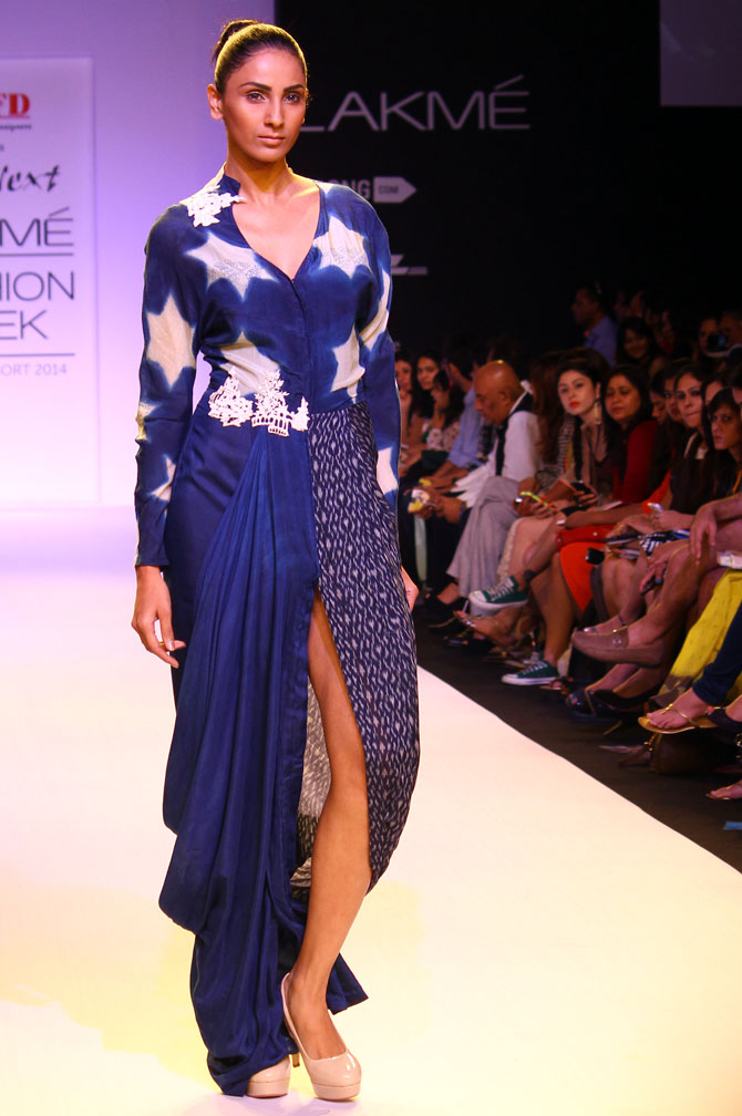 A model showcases a Divya Sheth creation