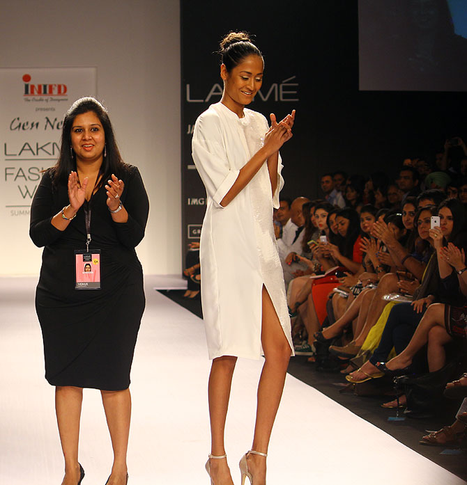 Parul Bhargava joins model Surelee Joseph on the runway