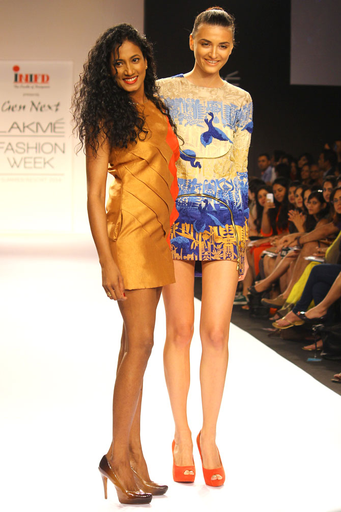 Vilvin Sabu (left) poses with a model wearing her collection