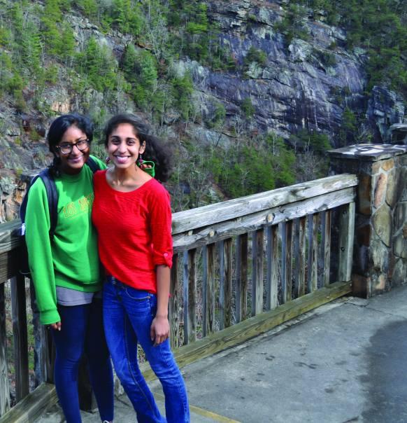 Anusha Ravi, left, with a friend.