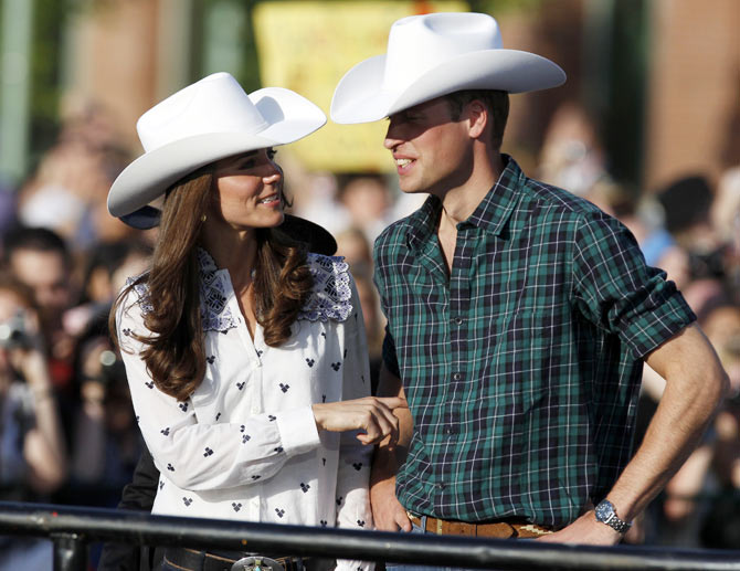 Kate and Prince William at a bull riding festival in Calgary, Alberta.