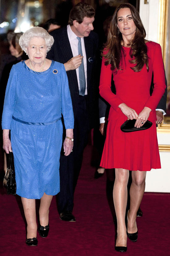 Kate and Queen Elizabeth at a reception for the dramatic arts at Buckingham Palace, London.