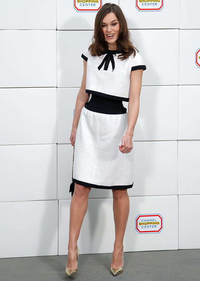 Actress Keira Knightley during a photocall before designer Karl Lagerfeld's Fall/Winter 2014-2015 women's ready-to-wear collection show for the French fashion house Chanel during Paris Fashion Week.