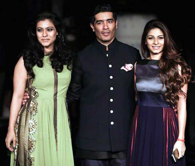 Kajol and Tanisha with Manish Malhotra.
