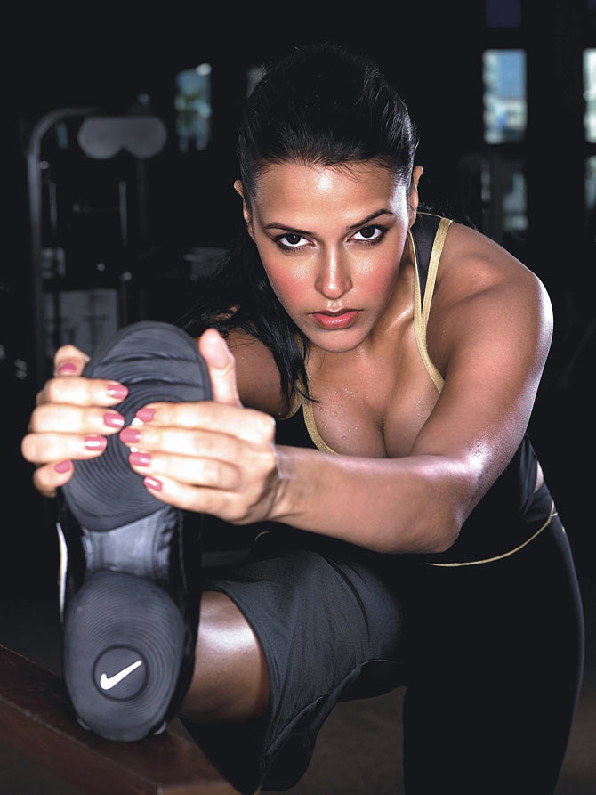 Actress Neha Dhupia during a workout.