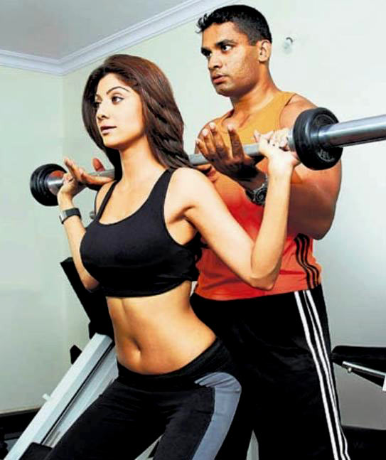 Actress Shilpa Shetty during a workout.