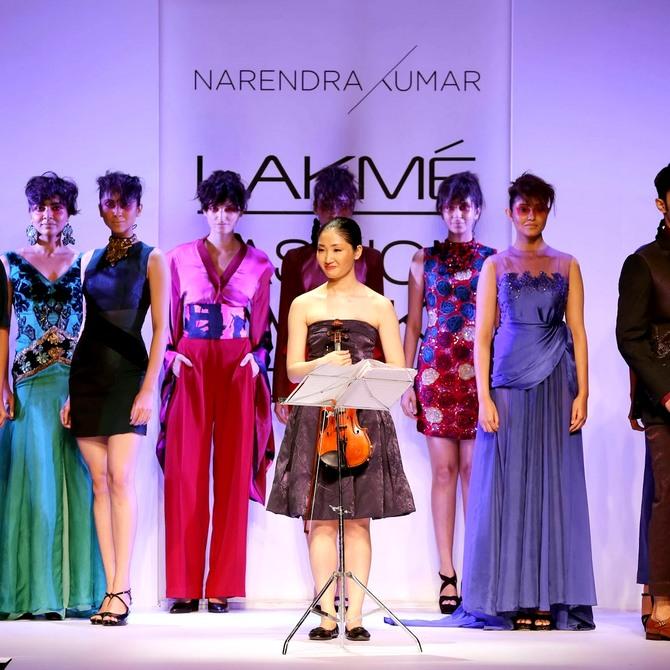 Mika Nishimura at Narendra Kumar's show at Lakme Fashion Week.