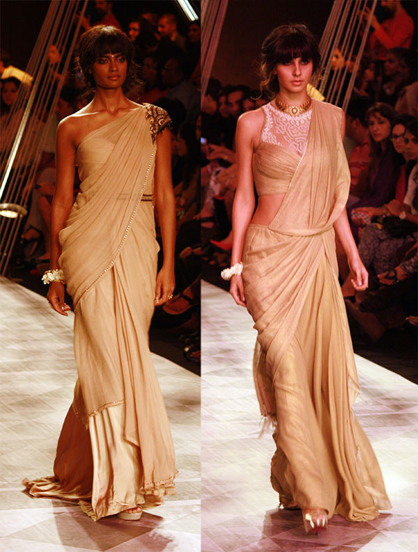 Models in a Tarun Tahiliani creation.