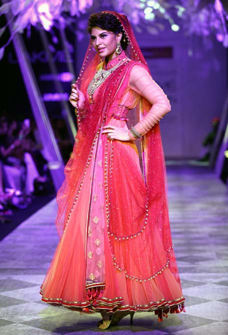 Jacqueline Fernandez walks the ramp for Tarun Tahiliani.