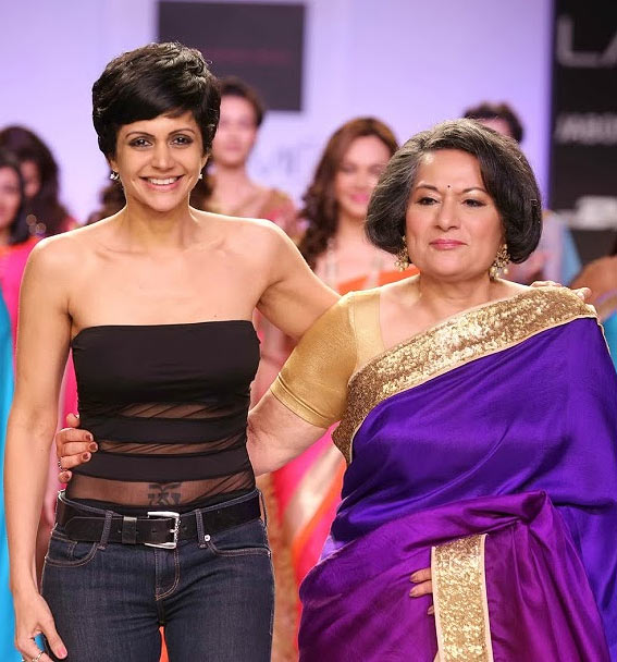 Mandira Bedi with her mother Geeta Bedi who showstopped for her debut collection on Day 2 of Lakme Fashion Week