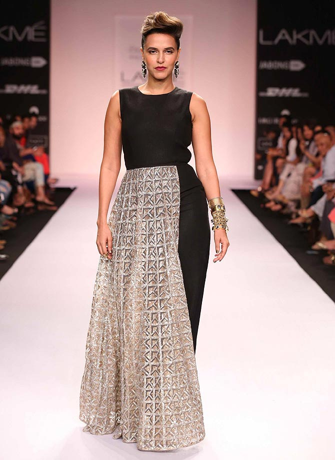 Neha Dhupia in a Payal Singhal creation