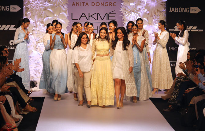 Dia Mirza takes the stage with Anita Dongre