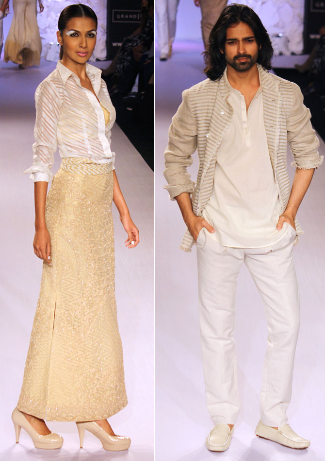 Models in a Anita Dongre creation