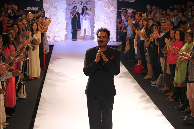 Fashion designer Wendell eceived a standing ovation just before Anita Dongre's show on Day Three of the Lakme Fashion Week.
