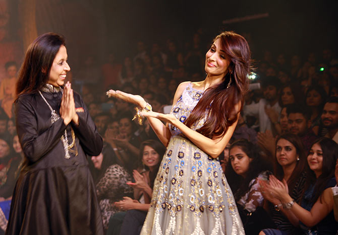 Anu Modi, the designer with her showstopper Malaika Arora Khan