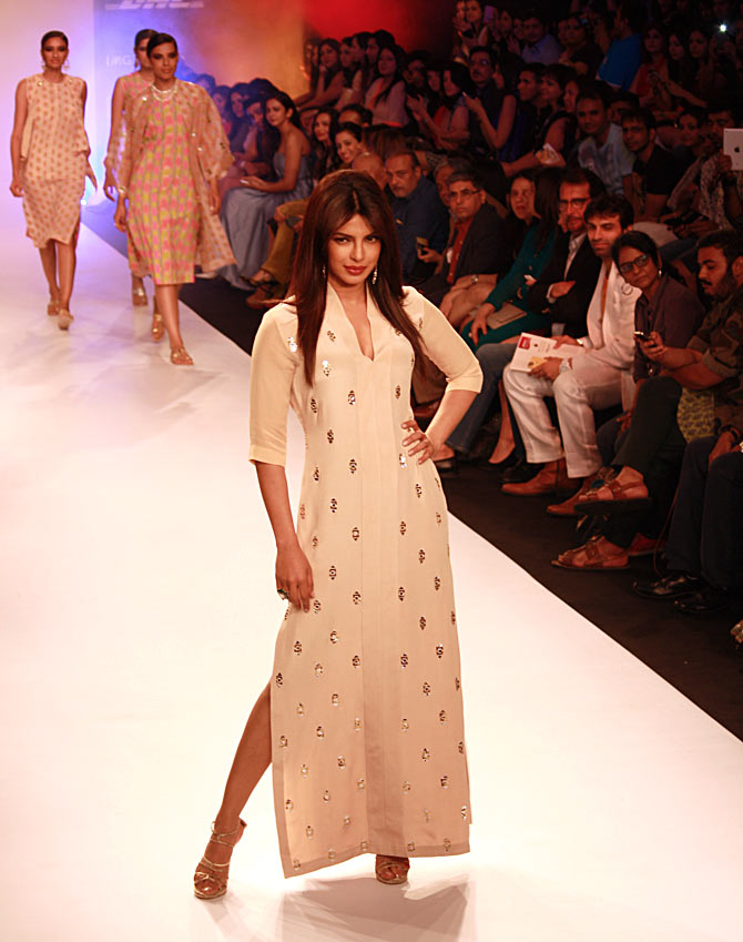 Priyanka Chopra poses for the shutterbugs in a Neeta Lulla creation