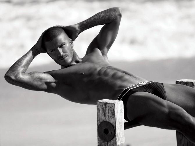 David Beckham strikes a pose for Emporio Armani underwear.