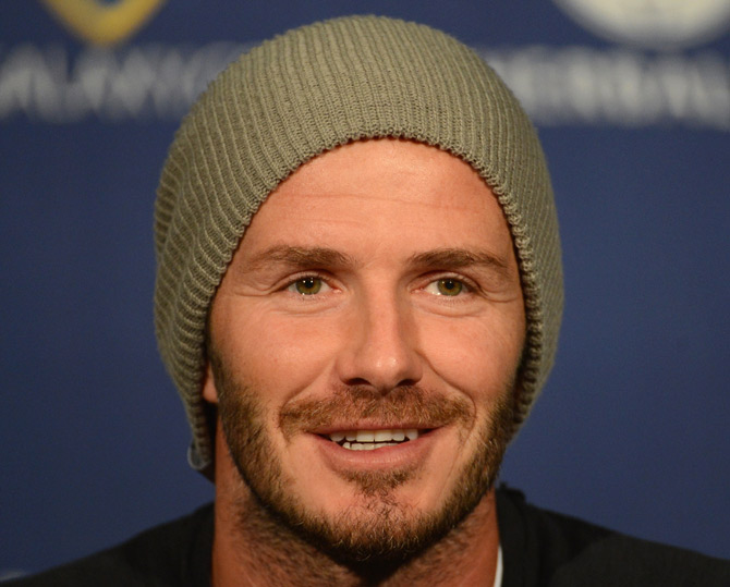 David Beckham speaks to the media during his press conference after training for the 2012 MLS Cup at The Home Depot Center in Carson, California.