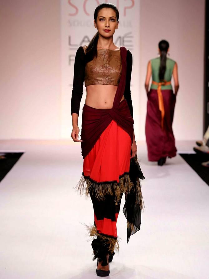 A model in a Sougat Paul creation