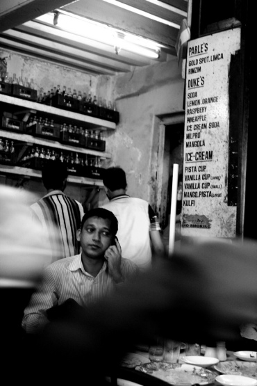 A customer at the 100-year-old B Merwan's cafe outside Grant Road station in Mumbai.