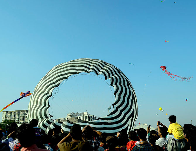 The International Kite Festival is held every year in Ahmedabad and attracts participants from around the world.