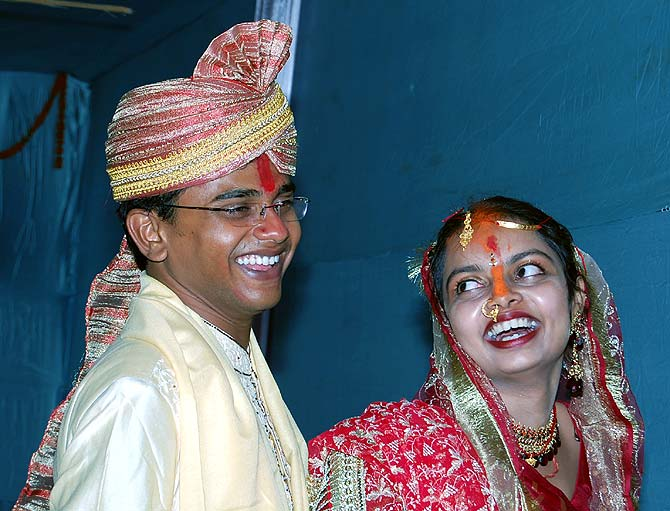 Vikash and Aparna Chandra on their wedding day