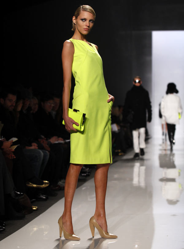 A model presents a creation from the Michael Kors Fall 2009 collection during New York Fashion Week,.