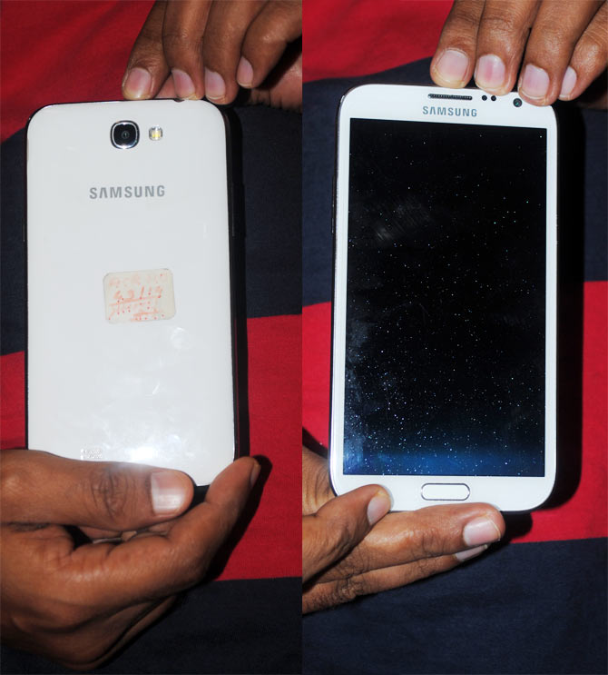 The Samsung galaxy Note 2 that was stolen and later recovered