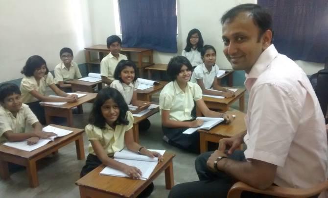 Arghya Banerjee, co-founder, The Levelfield School, teaches a class