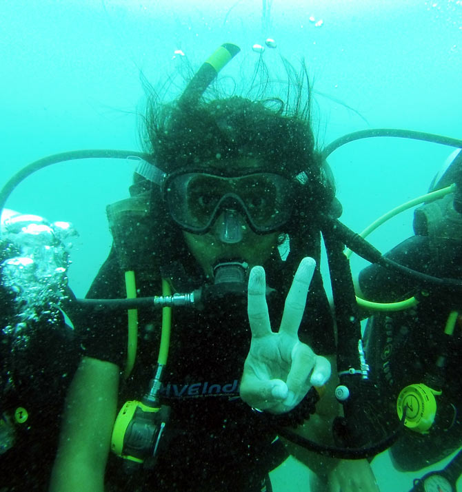 Tamanna Balachandran after setting the world record in Andaman and Nicobar Islands.