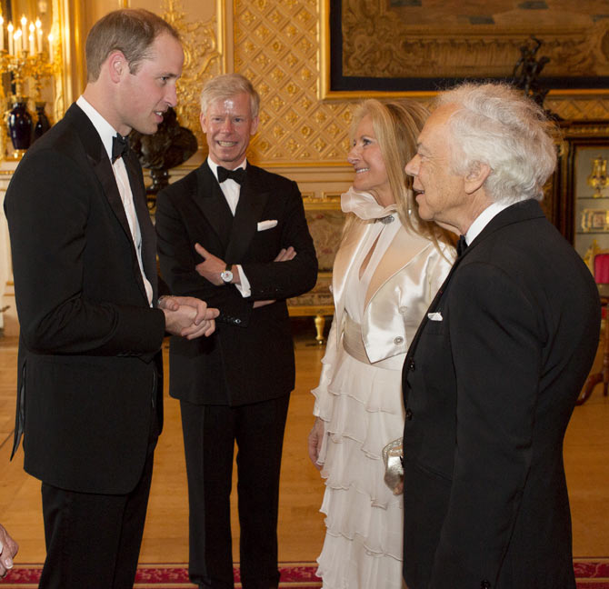 (L-R) Prince William chats with Ricky Anne Loew-Beer and Ralph Lauren
