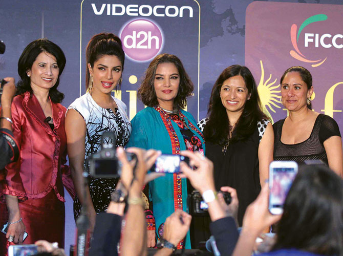 From left: Renu Khator, chancellor of Texas University System; actresses Priyanka Chopra and Shabana Azmi; Tara Abrahams, deputy director, Girl Rising project; and actress Sakina Jaffrey.