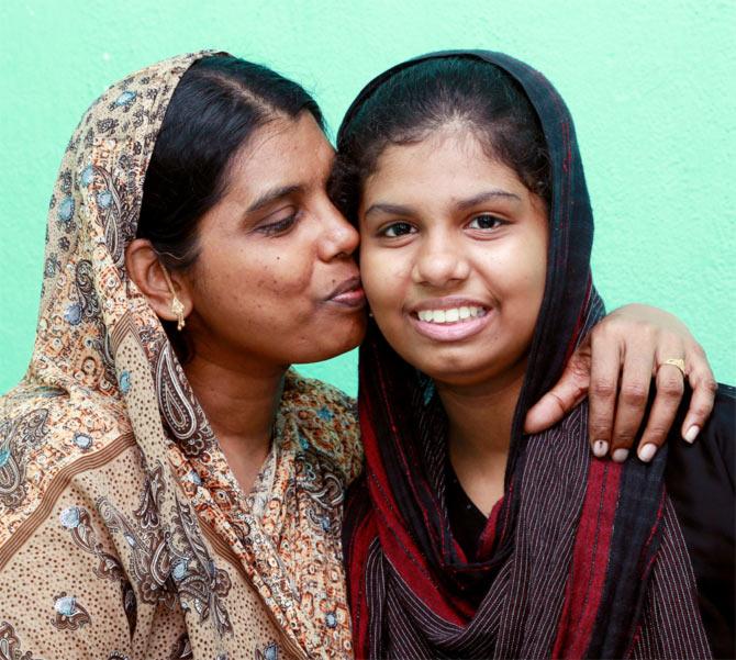 Fathima Shabana with her mother Bahira Begum