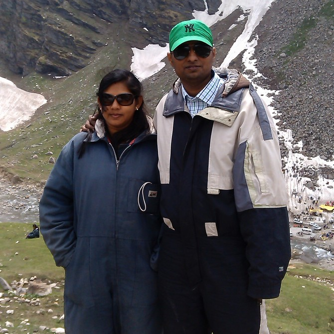 Sandip and his wife on a vacation