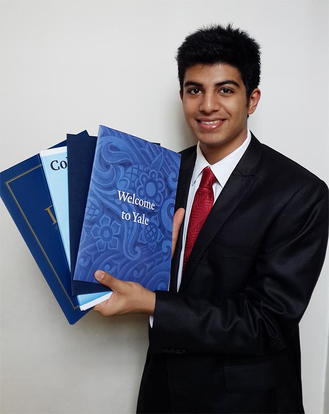 Sudhanshu Mishra with his admission offers -- he received 12 admission offers from leading international universities in the US and UK.