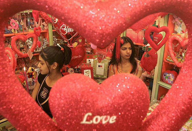 Customers look for gifts at a shop ahead of Valentine's Day celebrations in Ahmedabad, Gujarat.