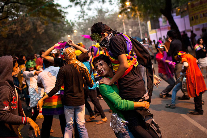 People participate in the 2011 Queer Pride March in New Delhi.