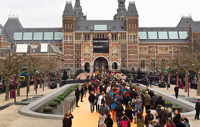 Visitors were allowed to enter the Rijksmuseum after the official opening by Queen Beatrix of the Netherlands (not pictured) in Amsterdam on April 13, 2013.