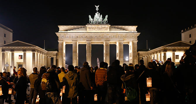 The Brandenburger Tor gate is pictured before Earth Hour in Berlin.
