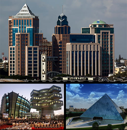 A collage of landmark buildings in Bangalore