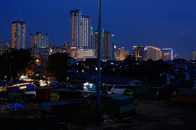 A view of the city skyline of Jakarta.