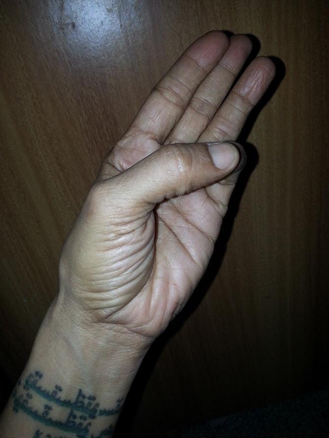 Jal mudra (Water hand gesture)